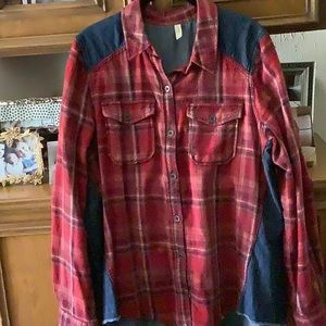 Free People Red Plaid and Denim Shirt